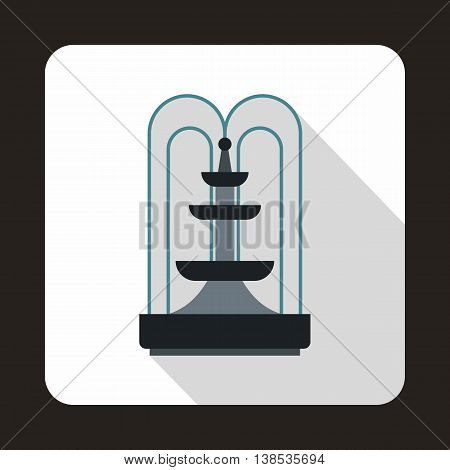 Fountain icon in flat style with long shadow. Water source symbol