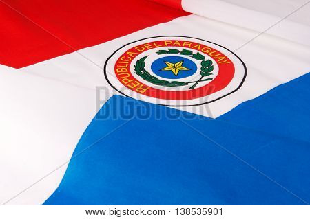 Flag of Paraguay. Close-up of the national flag of Paraguay.