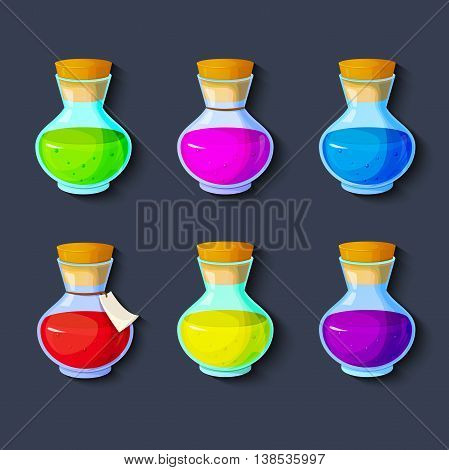 Set of elixirs, icon of the game equipment, bottle with multi-colored liquid, vector illustration