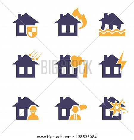 Home and house insurance and risk icons  set