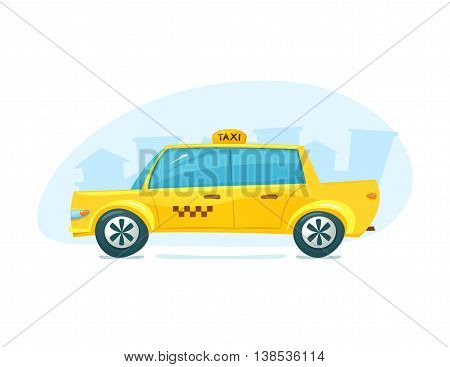 The yellow taxi with cityscape backdrop, urban transport, vector illustration