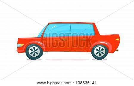 Red car side view in cartoon style, vector illustration