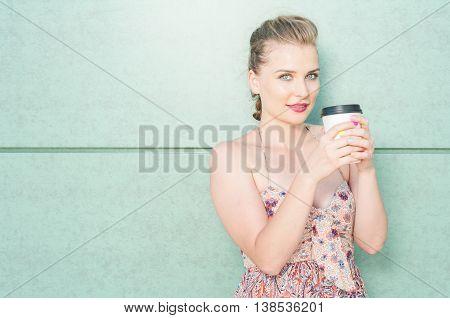 Beautiful Girl Holding Takeaway Coffee Cup