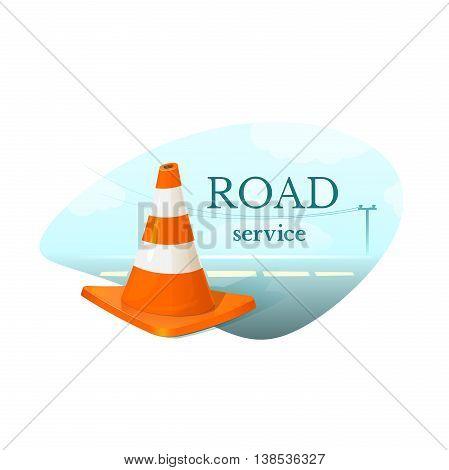 Road Service concept design, orange and white striped traffic cone safety, vector illustration