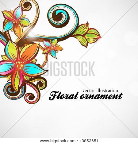 Floral background with abstract hand drawn flowers and leafs for design. eps 10
