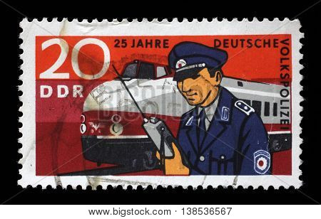 ZAGREB, CROATIA - JULY 02: a stamp printed in GDR shows The 25th Anniversary of the East German Folk Police, circa 1970, on July 02, 2014, Zagreb, Croatia