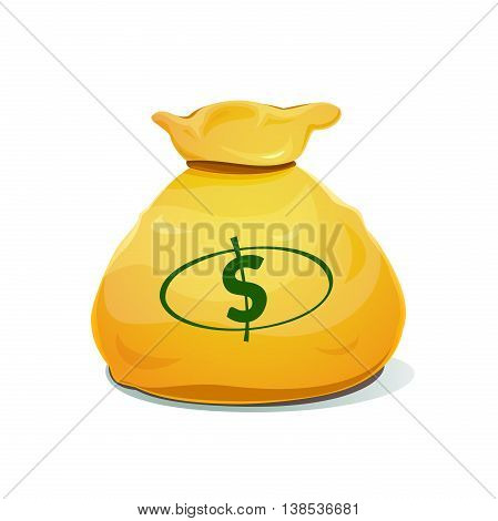 A large bag of money with dollar sign, vector illustration
