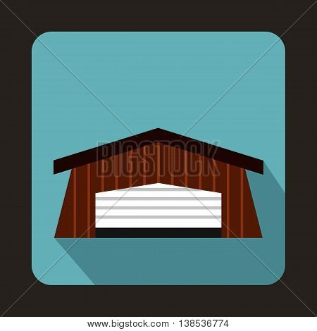 Barn icon in flat style with long shadow. Building symbol
