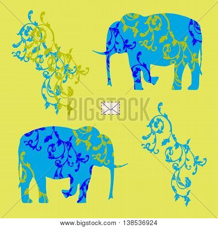 Colored Vector illustration with the image of an envelope and two elephants with ornament
