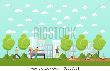 Pregnant women are doing exercise and yoga in park. Vector illustration in flat style. Pregnant woman fitness banners.