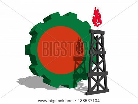 3D gear with gas rig simple icon, textured by Bangladesh flag. Heavy and mining industry concept. 3D rendering