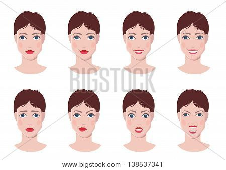 Vector set of woman faces with different emotions, happy, calm, sad, angry, surprised faces