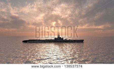 Computer generated 3D illustration with an American submarine of World War II at sunset