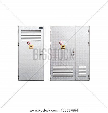 Metal Doors With High Voltage Signs Isolated