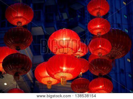 Asia Hong Kong large illuminated Chinese Lanterns