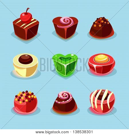 Sweets and candies icons set illustration in modern style for different use