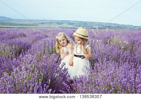 Two Girls  In Lavender Field