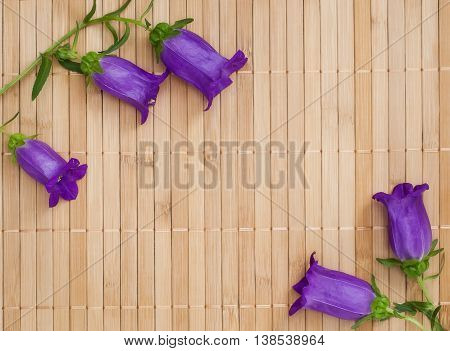 Branch of ultramarine colored bellflowers on beige bamboo napkin copyspace