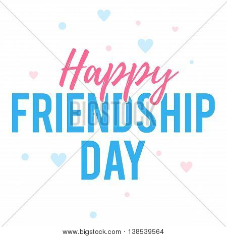 Happy Friendship day greeting card with colr text and heart. Vector illustration template for your web banner design for website or print poster