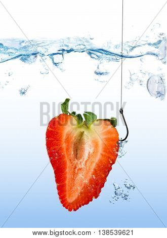 Strawberry As Fishing Lure On Fishing Hook Under Water
