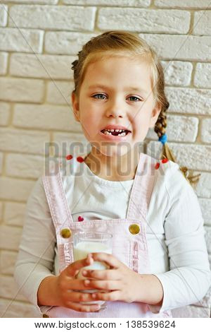 Funny Little Girl Lost Her Milk Tooth