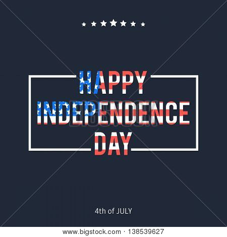Happy 4th of july, Independence day in color American flag. Vector illustration  letterpress on White background