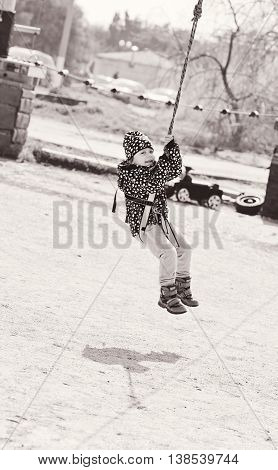Aсtive Toddler In Rope Park