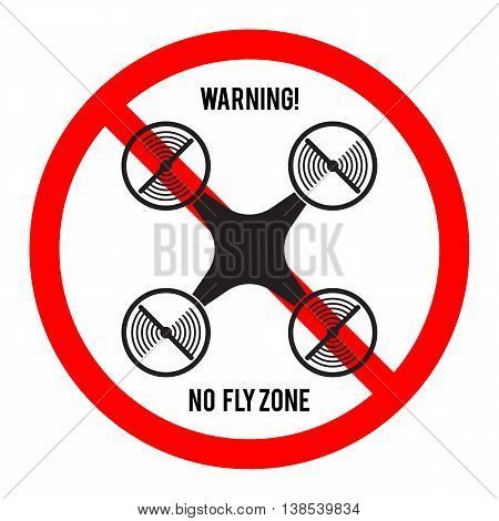 No drone fly zone icon. Warning and forbidden sign. Multicopter prohibited symbol. Vector illustration