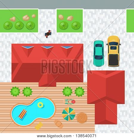 Top view house with pool and loungers on a wooden floor and a garage with cars, a sedan and a pickup truck. Woman with hat sunbathing in the yard. Vector illustration in flat style