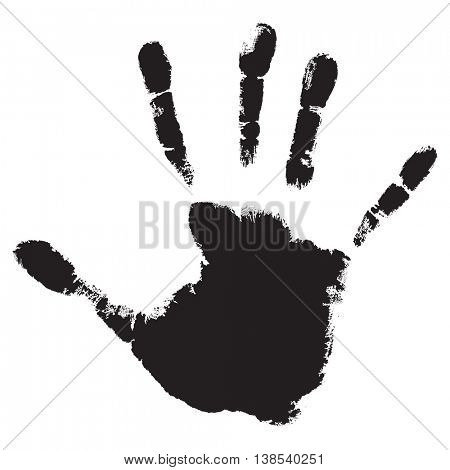 Concept or conceptual cute black paint human hand or handprint of child isolated on white background