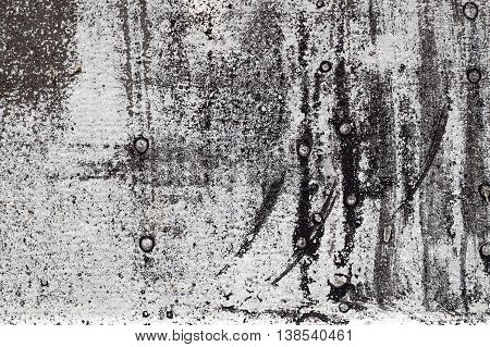 Cracked Black And White Paint On Grunge Metal  - Macro 7