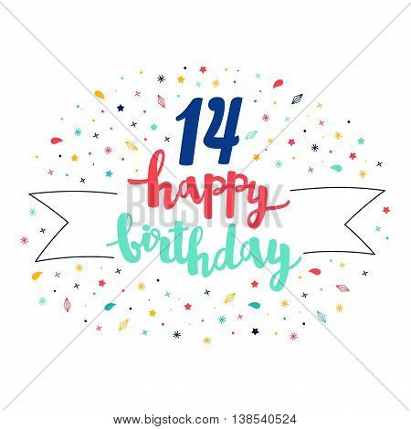 14 Happy Birthday Lettering With Tag And Stars, Crystals. Vector Greeting Card. Cute Pattern