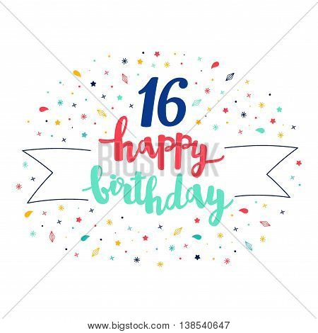 16 Happy Birthday Lettering With Tag And Stars, Crystals. Vector Greeting Card. Cute Pattern