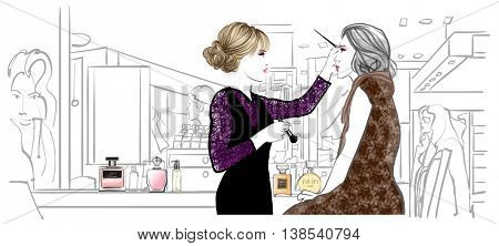 Make-up artist applying treatment - vector illustration