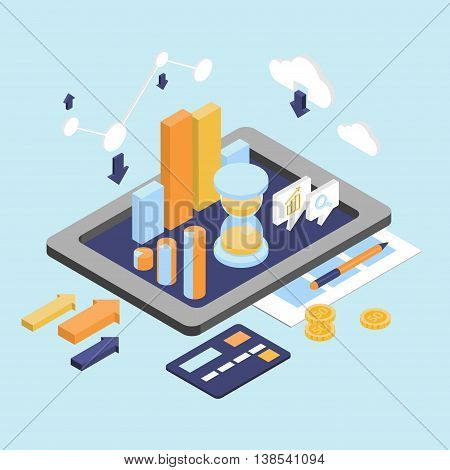 Flat 3d isometric business finance analytics, chart graphic report on tablet web infographic concept . Hourglass calculator money coins documents and collage on tablet. Stylish website banner.