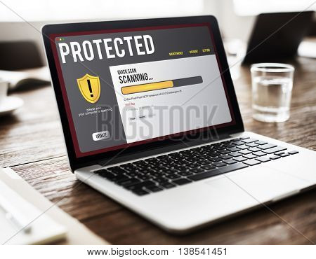 Protected Spyware Virus Safety Concept