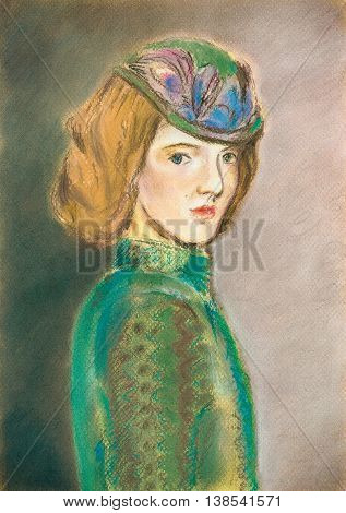 Hand drawn graphic portrait with an imaginary woman in the hat with decor. Green vintage clothes of 19th century, red combed hair, beautiful face. Soft waves hairstyle. Pastel on the paper.