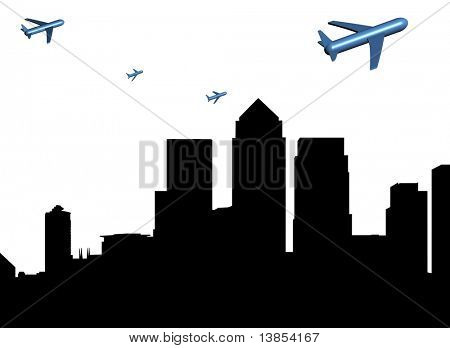 abstract planes departing Docklands illustration