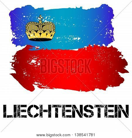 Flag of Liechtenstein from brush strokes in grunge style isolated on white background. Country in Western Europe. Vector illustration