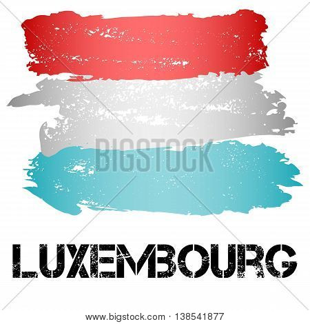 Flag of Luxembourg from brush strokes in grunge style isolated on white background. Country in Western Europe. Vector illustration