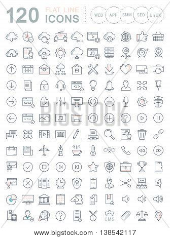 Set vector line icons in flat design smm cms seo and ui ux design with elements for mobile concepts and web apps. Collection modern infographic logo and pictogram.