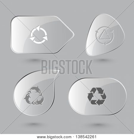 4 images: recycle symbols, killer whale. Recycle symbols set. Glass buttons on gray background. Vector icons.