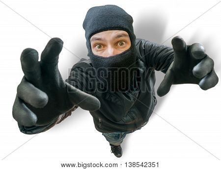 Funny Burglar Is Stretching Towards Camera Filming Him From Top.