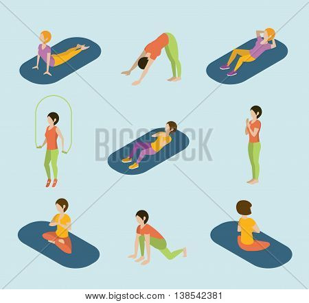 Sports women yoga gym gymnastics workout exercise flat 3d web isometric infographic . Icon set of young girls on carpets balls skipping rope. Creative people collection.