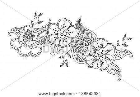 Monochrome Mendie design isolated on white. Vector illustration