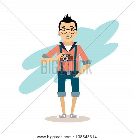 Creative photographer Flat illustration in modern style for different use