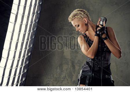 Attractive steam punk singer