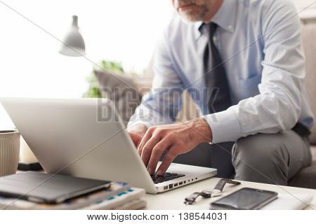 Businessman at home sitting on the couch and working with a laptop business and lifestyle concept