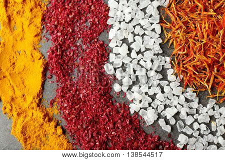 Rings of different spices, close up