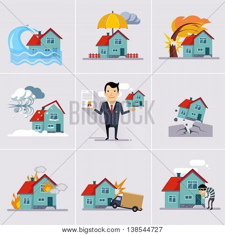 Home and house insurance and risk icons illustration set